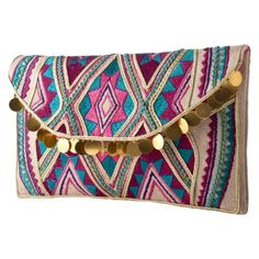 Handbags and Shoulder Bags: Embroidered Dangle Clutch Multicolor | $24.99