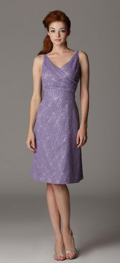Style 141. Bridesmaid dress with surplice neckline and sewn-in waistband.  Made in USA.  Ariadress.com