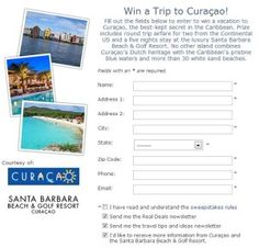 Enter Budget Travel's Trip to Curacao Sweepstakes for your chance to win a 5-night trip for two to the Santa Barbara Beach & Golf Resort Curacao.