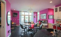 You Have to See Inside This, Like, Totally Untouched & House: gallery image 9 Michigan, Realtor Listings, Retro Interior Design, Buy Computer, Cinema Room, Floor To Ceiling Windows, Pink Room, Pink Walls, Room Interior