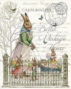 Mother Rabbit with Babies Print, Pillow,Note Cards