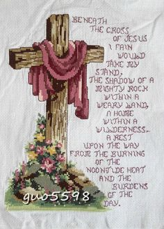 "New Completed finished cross stitch""JESUS CROSS""home decro gift picclick.com"