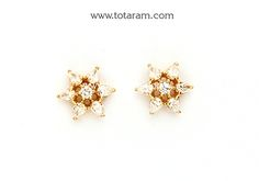 Diamond Earrings for Women in 18K Gold - DER865 - Indian Jewelry from Totaram Jewelers