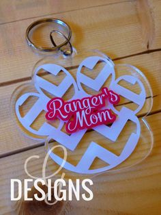 Personalized Chevron Paw Print Acrylic Keychain by gdesigns7