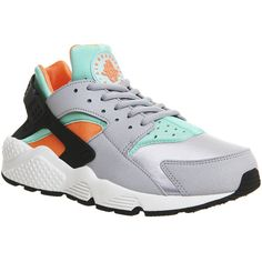 Nike Air Huarache ($83) ❤ liked on Polyvore featuring shoes, sneakers, nike, trainers, unisex sports, wolf grey orange, nike sneakers, orange shoes, nike trainers and gray sneakers