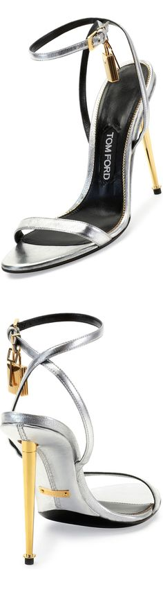 Tom Ford Metallic Ankle-Lock Sandal