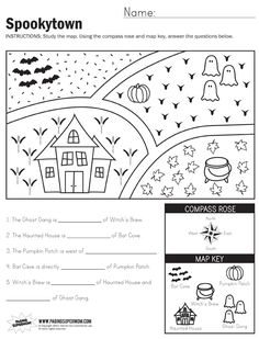 290 Best Map Skills Images On Pinterest In 2019 Map Skills Probability Worksheets For First Grade Spookytown Map Worksheet 3rd Grade