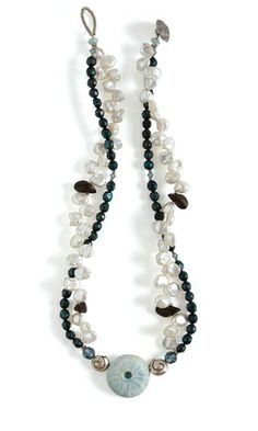 Double-Strand Necklace with Cultured Freshwater Pearls and Polymer Clay Sea-Urchin Pendant - Fire Mountain Gems and Beads