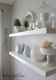 styled kitchen shelves with milkglass  (and so excited cause I have some of those same pieces ;)