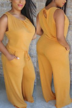 Yellow Fashion Casual Loose Sleeveless Jumpsuit Jumpsuit With Sleeves, Yellow Fashion, Playsuits, Jumpsuits, Fashion 2020, Style Fashion, High Waist Jeans, Sleeve Styles, Summer Outfits
