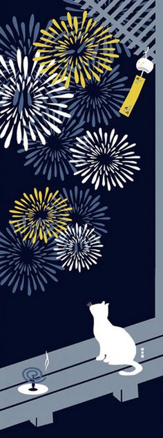 Japanese Tenugui Towel Cotton Fabric, Kawaii Kitty Cat, Firework Design, Hand Dyed Fabric, Modern Art Fabric, Wrapping, Home Decor, h349