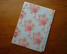 FILOFAX A5 compatible DIVIDERS for A5 ORGANISER PLANNER English Rose #168