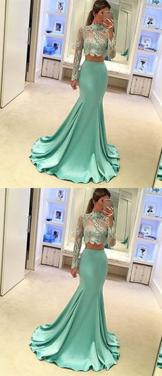 New Arrival Mermaid 2 Piece Prom Dress for Women, modest two piece green mermaid long prom dresses with sleeves, unique long sleeves high neck evening dresses with lace #longsleeves