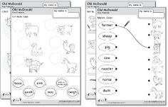 Worksheets to Go With Old McDonald Video (from Super Simple Learning) Preschool Printables, Preschool Activities, Farm Unit, Farm Theme, Kids Songs, English Lessons, Autumn Theme, Farm Animals