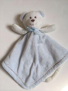 Blankets and Beyond Plush Teddy Bear Security Baby Lovey Blue White Fleece Boy #BlanketsBeyond