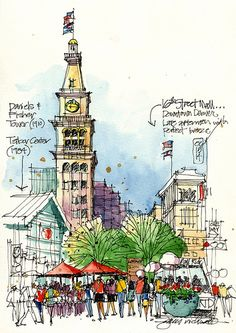 Denver's Street Mall offers a rich visual environment for urban sketching. Urban Sketchers James Richards and Richard Alomar will . Landscape Sketch, Landscape Drawings, Travel Sketchbook, Art Sketchbook, Sketch Painting, Drawing Sketches, Pen Drawings, Pen And Watercolor, Watercolor Trees