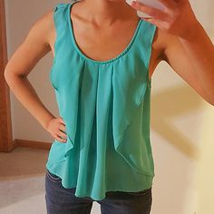 Blue Green Ruffle Drape Tank Top Chiffon Perfect condition. Light weight material. Looks great with a pair of jeans Forever 21 Tops Tank Tops