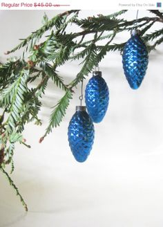 Blue pine cone Christmas Tree ornaments- 1950's