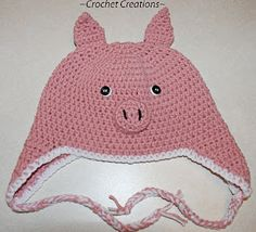 Crochet Creative Creations- Free Patterns and Instructions: Crochet Pig Ear Flap Child Hat