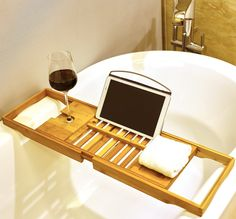 Harcas Premium Bamboo Bath Tray Rack Gorgeous Extendable Bathtub Caddy with Wine Glass Holder, Soap Tray and iPad Holder/Book Rest. Perfect for Relaxing. Fits Most Bathtubs Wood Bath Tray, Wood Bathtub, Bathtub Tray, Bathtub Caddy, Wooden Bathroom, Bamboo Bathroom, Shower Bathroom, Ipad Holder, Tablet Holder