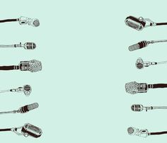 old microphones, blue by lorose