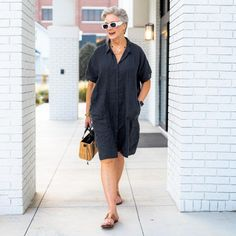 Shirt dress and slide sandals | Photo by Beth Djalali | For more style inspiration visit 40plusstyle.com