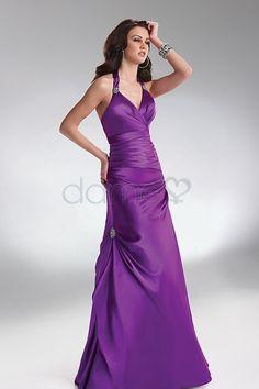 Nackenträger natürliche Taille A-Linie Satin ärmelloses bodenlanges seite drapiertes Abendkleid
