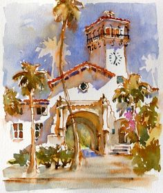 Brenda Swenson. Architecture is difficult to render well in watercolor. To me the conflict is between the need to be loose with the paint and the need to sorta make the building recognizable as a building!   This artist does both here!!