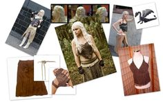 "Khaleesi Danaerys - What you'll need:  1. Suede brown halter top 2. Suede brown skirt 3. Suede brown boots 4. Brown, fingerless gloves 5. Rope belt 6. Black, toy dragon 7. Silver-blonde wig 8. An open heart |  Awesome ""Game Of Thrones"" Women To Be For Halloween"