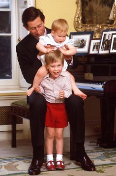 William and Harry with Prince Charles