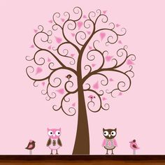 Cute Brown and Pink Owls and Birds Pattern Brown by OriginalWalls, $79.00