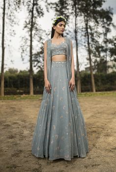 Farida Ice Blue Printed Gather Jacket Lehenga