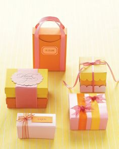 Favor Boxes  Let guests take home the bright colors of your wedding. For individual treats, such as truffles, nestle each in a muffin cup before placing it in the box. For loose candy, line the boxes with glassine. Add ribbon and, if you like, dress up the boxes even more with a message.                               Download the Clip-Art