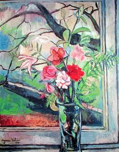 Bouquet of flowers in front of a window, 1930 by Suzanne Valadon ~ Oil on canvas. Renoir, Maurice Utrillo, Post Impressionism, Still Life Art, French Art, Oeuvre D'art, Flower Art, Muse, Street Art