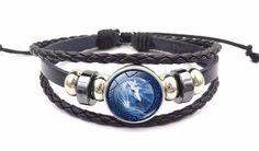 Horse Neon Glass Cabochon Bracelet Braided Leather Strap Bracelets