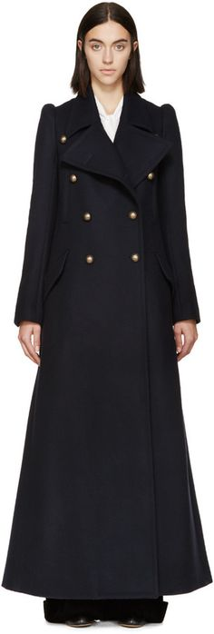 Navy Wool Double-Breasted Long Coat. We simply love this.