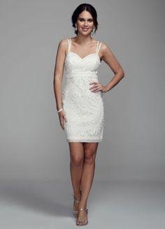 David's Bridal Spaghetti Strap Short Wedding Dress with Beaded Soutache   #DavidsBridal #WeddingDresses