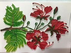 Beautiful Quilled Red Flowers and Green Leaves - by: Huong Wolf Neli Quilling, Paper Quilling Cards, Quilling Work, Paper Quilling Designs, Quilling Flowers, Quilling Patterns, Quilling Ideas, Paper Art Projects, Paper Crafts