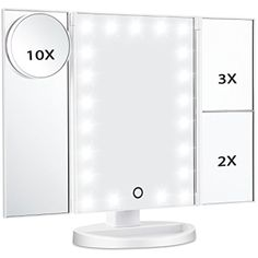 Tri Fold Vanity Mirror With Lights Enchanting Kedsum Trifold Lighted Makeup Mirrorled Travel Vanity Mirror With Decorating Inspiration