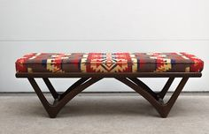 Build this mid-century inspired triangle leg bench for your entryway or living room. It's a perfect blend of modern DIY and vintage styles. Upholstery Foam, Upholstery Cleaner, Furniture Upholstery, Upholstery Repair, Reupholster Furniture, Modern Bench, Modern Chairs, Upholstered Bench, Southwestern Style