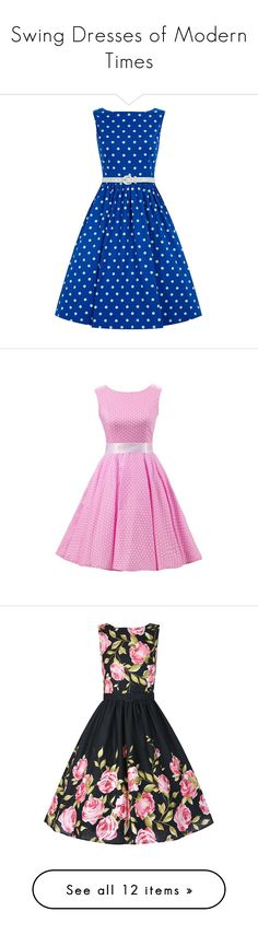 Swing Dresses of Modern Times by sensualshoesandclothingboutique on Polyvore featuring women's fashion, dresses, blue, blue cocktail dress, vintage style cocktail dresses, boatneck dress, flared skirt, vintage style dresses, white sleeveless dress and vintage cocktail dress