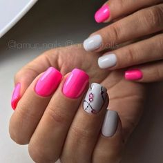 Simple White and Pink Accent. This one is seriously worth trying if you are not a fancy person. Just get your nails embellished with the bold pink and simple white accent with the tweak of some black lines and pink studs alternately.
