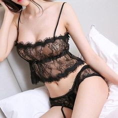 95ed446ee6a Sexy Eyelash Lace Lacing Bra Set Milf Lingerie 👙💋. To see more designs  checkout