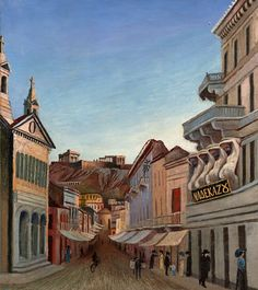 Strasse in Athens - Tivadar Csontváry-Kosztka (Hungary, (Expressionism) New College, Post Impressionism, Art Database, Pilgrimage, Athens, Square Feet, Bali, Architecture, Canvas