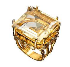 Ring with Citrine and Aquamarine