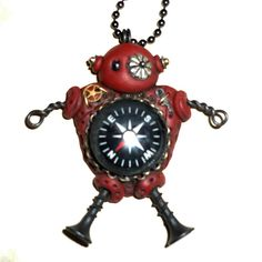 Funky robot necklaceSteampunk robot pendantJewelry for hir or her
