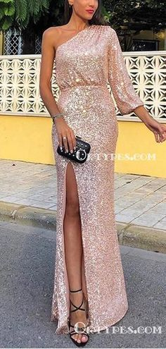 One Shoulder Long Sleeves Sparkly Rose Gold Sequin Long Cheap Side Slit Evening Prom Dresses Gold Brides Maid Dresses, Blush Bridesmaid Dresses Long, Bridesmaids, Cheap Prom Dresses, Dresses With Sleeves, Rose Gold, Gold Dress, Shoulder, Gown