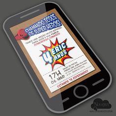 Convite Virtual com visual artesanal  - Super Heroi Lego  www.lojadanuvem.com.br
