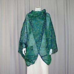 silk cocoon coat embroidered wrap jacket green cloak