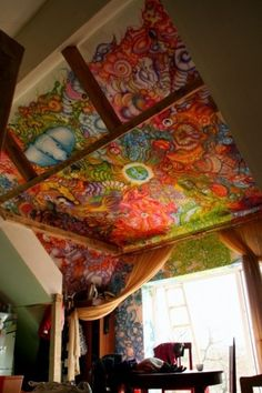 painted ceiling - a little busy for my taste, but still pretty!
